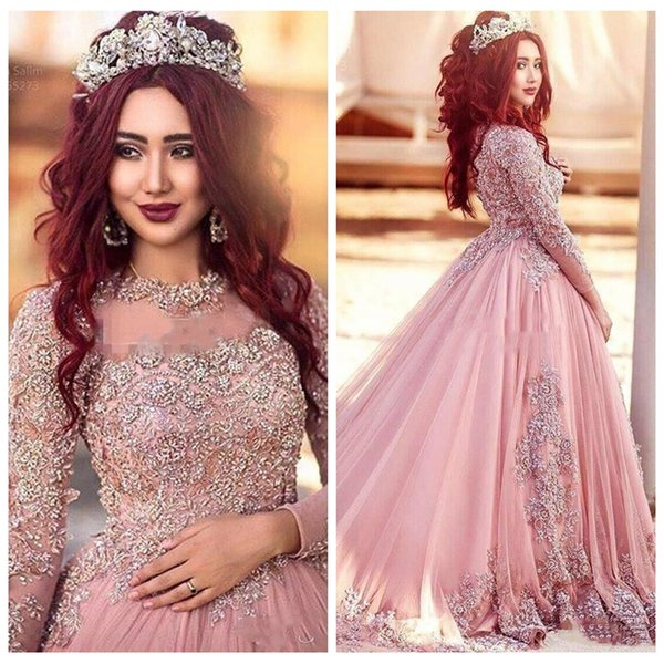 2018 Sheer Lace Appliques Quinceanera Dresses Princess Muslim Prom Dresses Beaded Red Carpet Runway Dresses Custom Vestidos De Quinceanera Damas