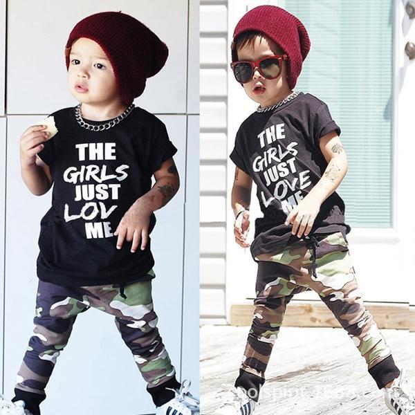 Mode bambin enfants garçons en tête T-shirt + pantalons camo 2pcs / set tenues tenues adaptées pour les enfants 1-6T