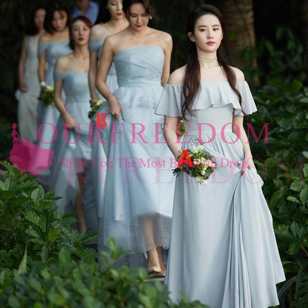 2019 Light Grey Blue Bridesmaid Dresses Maxi Style A Line Chiffon Tulle  Floor Length Maid Of Honor Wedding Guest Gowns Cheap Hot Sale Sparkly