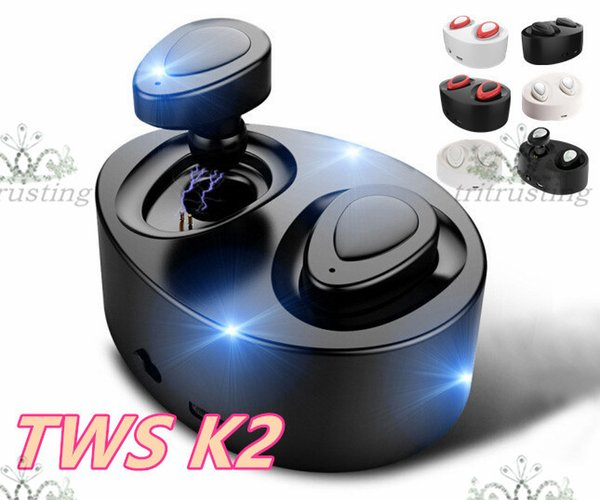 TWS K2 True Wireless Bluetooth Earphones Stereo Headset Dual Twins Earpieces Bass Mic Double Earbuds Headphones USB Charger Box MQ10