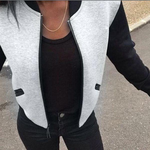 Puseky 2018 Hot Sale Fashion Womens Bomber Jacket Vintage Zip up Biker Stylish Padded Zipper Coat Top Blouse Autumn Winter Coats