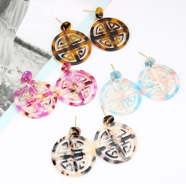 Chinese style Earrings Round geometry colorful shape acetate plate Dripping oil Earrings Fashion Temperament Earrings multi-Colors Wholesale