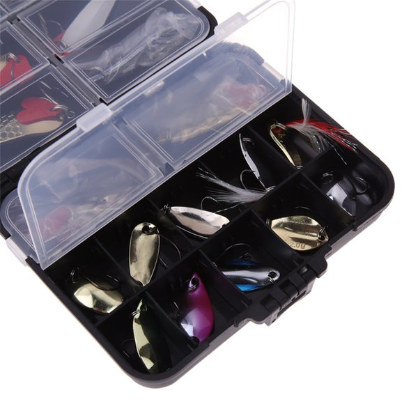 37Pcs Mixed Fishing Lures Metal Artificial Spoon Bait Fishing Kit Spinning Hard Bait Pesca Fishing Tackle Bait with Box
