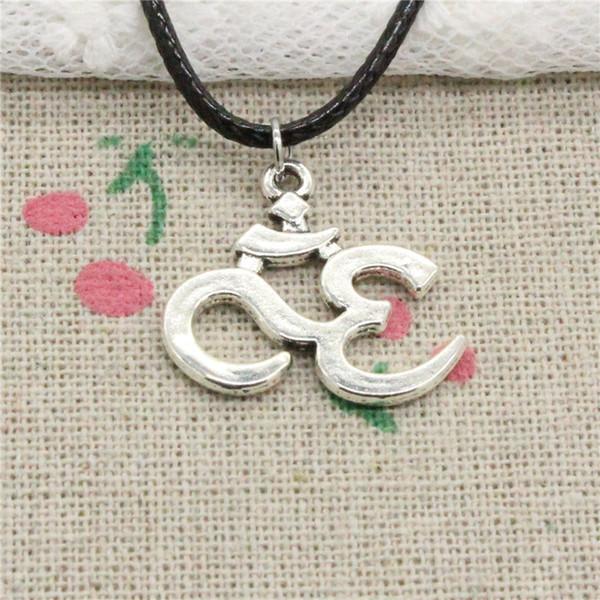 Creative Fashion Antique Silver Pendant yoga om 23*21mm Necklace Choker Charm Black Leather Cord Handmade Jewlery