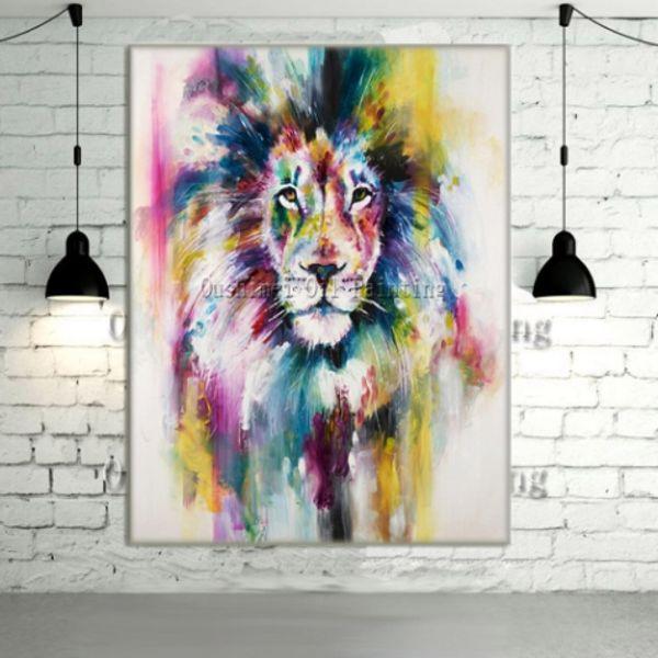 Yeni El Boyalı Modern Soyut Renk Aslan Hayvanlar Duvar Sanatı Yağlıboya, Ev Duvar Dekor Tuval Üzerine Çok boyutları a17