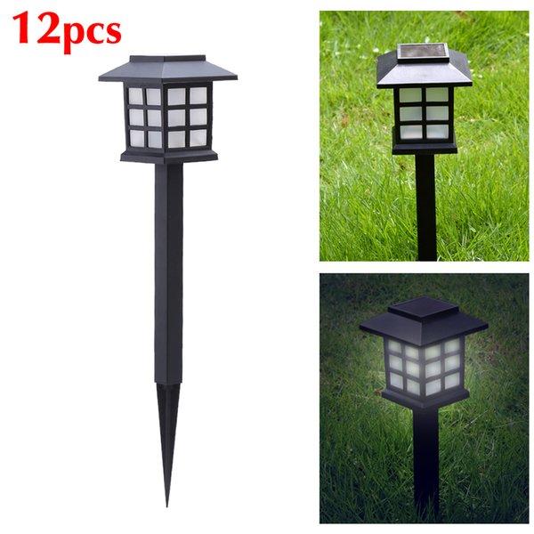 12 PC / LOT Schwarz Solar Power LED Outdoor Pfad Licht Hof Garten Rasen Landschaft Spot Lampe Außenbeleuchtung Ornament 25 cm x 8,5 cm