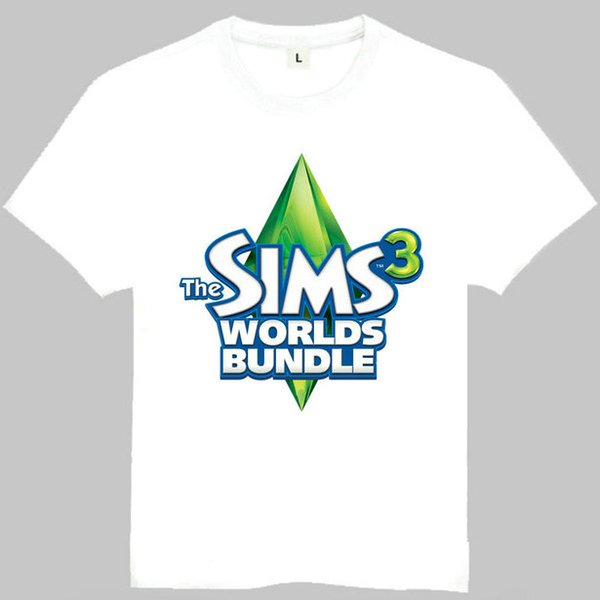 The Sims t shirt Worlds bundle 4 short sleeve gown Cool game tees Leisure clothing Quality cotton fabric Tshirt