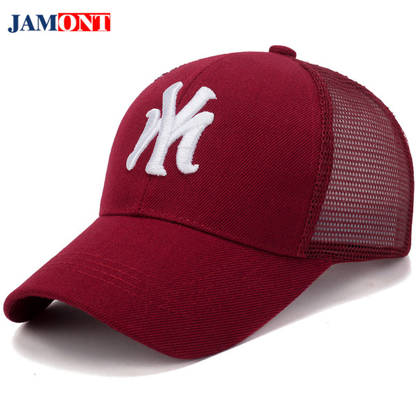 2018 Men and Women Caps Hats Summer Letter Embroidery Male Baseball Cap Mesh Quick-drying Men's Cap Daddy Hat Female Black