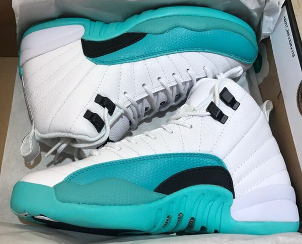 wholesale dealer 5368f ad1b5 With Box New Light Aqua Basketball Shoes Best Quality 12 Gg White Jade  Women White Light Aqua 12s Sneaker 5.5 8 Basketball Shoes For Girls  Discount ...