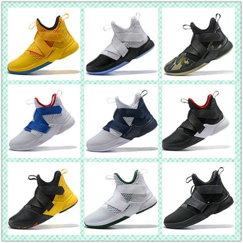 Various styles Soldier 12 mens basketball shoes White Midnight Navy-Mineral Yellow mens designer sports sneakers AO4054-100