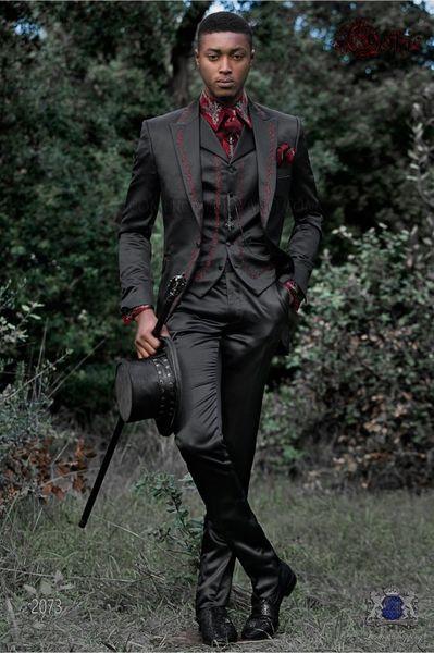 Long Pattern Embroider Black Groomsmen Peak Lapel Groom Tuxedos Men Suits Wedding/Prom/Dinner Best Man Blazer(Jacket+Pants+Tie+Vest)