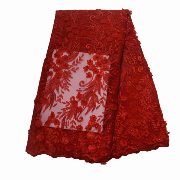 2018 Latest Nigerian Laces Fabrics With Beaded Tulle African Laces Fabric Wedding African French Tulle Lace for wedding