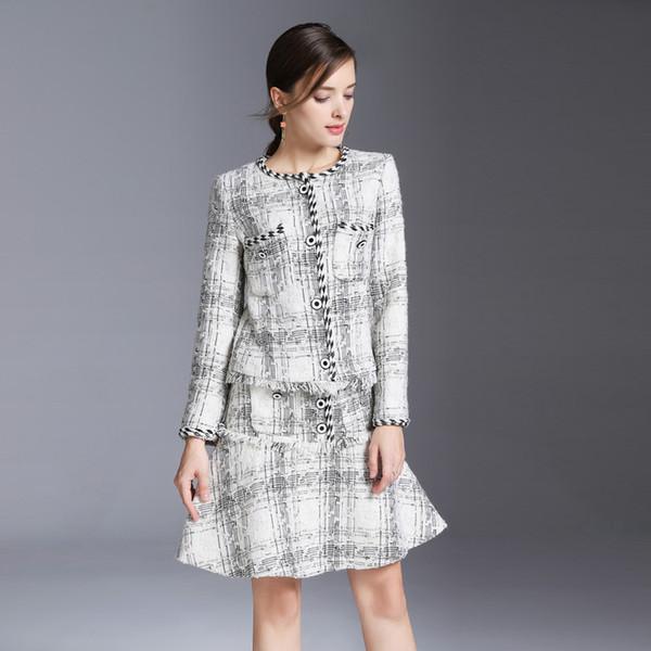 fashion 2018 autumn luxury brand designer women's Two Piece Dress Runway skirt suits Women's Two Piece Sets woolen jackets brand mini skirt