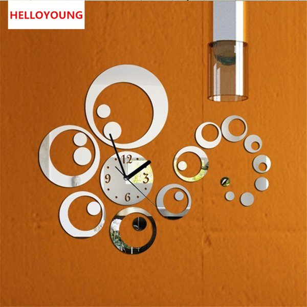 Hot Mirror Sticker 3d Acrylic Wall Stickers Home Decor Europe Large Poster Kitchen Horse Butterfly Christmas Wall Clock