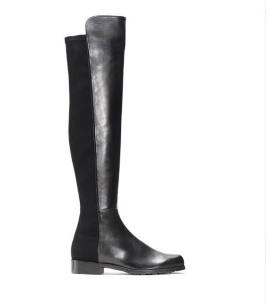 Paris Classic 5050 Elastische Stiefel 2,5 cm Absatz Damen Herbst und Winter Neue Leder Slim Schuhe mit schlanken Beinen hohe lange Stiefel Mädchen