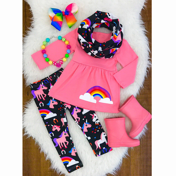 Christmas Baby Girl Clothing Set Unicorn Kids Toddler Girls Outfits Clothes T-shirt Tops Dress +Long Pants 2PCS Set