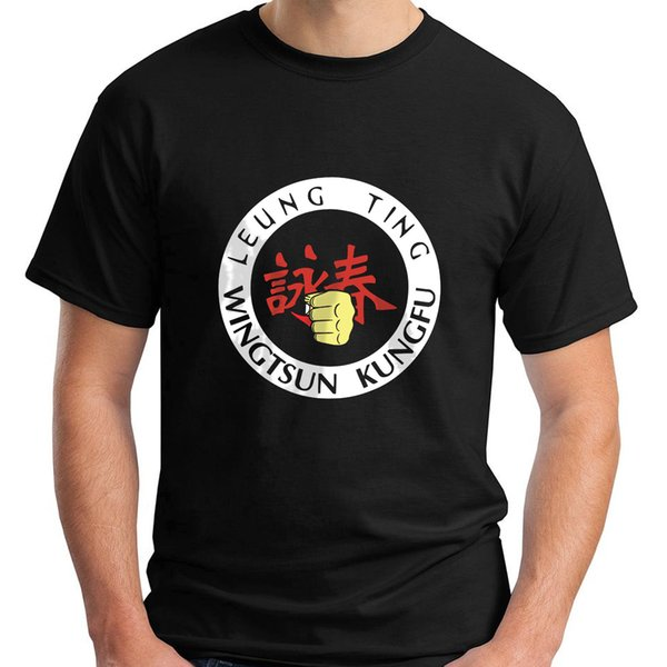 Новый Leung Tin Wingstun Кунг-Фу с коротким рукавом черный мужская футболка размер 2018 Мужская Lastest мода с коротким рукавом печатных смешные футболки