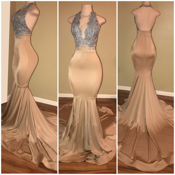 Elegant Long Prom Dresses Gold With Silver Lace Applique Halter V Neck Mermaid Evening Gowns Backless Special Occasion Party Prom Dresses