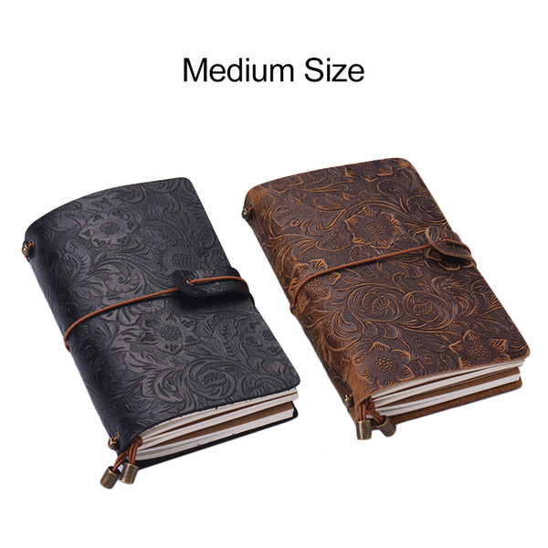Grain Leather Full Refillable Travel Diary Notebook Journal Embossed Flower Pattern Daily Notepad Cover with Elastic Strap Gift