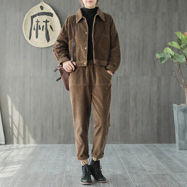 Otoño invierno traje Retro mujeres suelta Cardigan botón Tops cintura elástica bolsillo pantalones nueva Mori niña pana Casual traje de las señoras