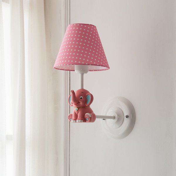 Acheter Éléphant Cartoon Rose Tissu Applique Murale Appliques À Encastrer  LED Applique Murale Luminaires Garçon Fille Chambre Chambre Enfant Aalcon  ...