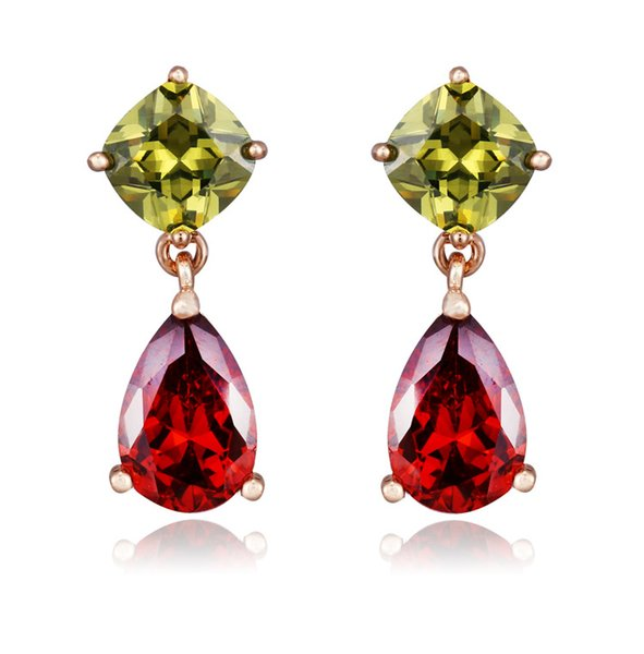 earrings cheap SLBRIDAL Pave Setting Vintage Classic Mona Lisa Cubic Zircon Drop s CZ Earring Wedding Earring Colorful Stones Earring
