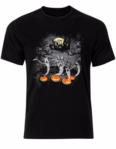 Cadılar bayramı Hayalet Perili Ev Midnight Kabak Spooky Mist Erkek Tişört Üst AL64 Baskı erkek T-Shirt Yeni Moda Rahat pamuk Tops