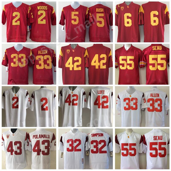 Men Football 5 Reggie Bush Jersey USC Trojans College 42 Ronnie Lott 2 Robert Woods 6 Mark Sanchez 55 Junior Seau Marcus Allen