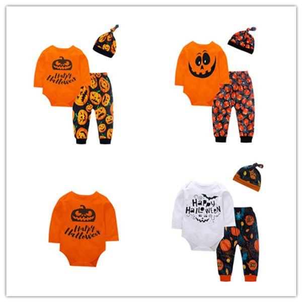 Cadılar bayramı bebek kıyafetler çocuk erkek kız Mektup romper + kabak Yarasa baskı pantolon + Şapka 3 adet / takım Sonbahar çocuk Giyim Setleri