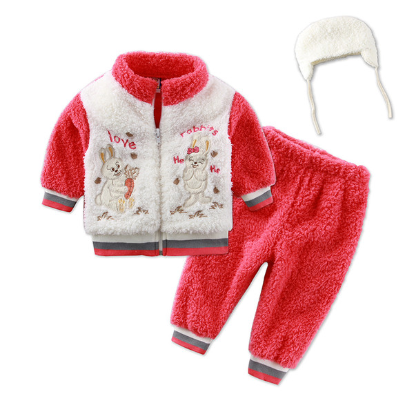 Little Q Infant jacket boys outfits kid's overcoat child garments baby girls clothes children blouse and pants Coral velvet winter apparel