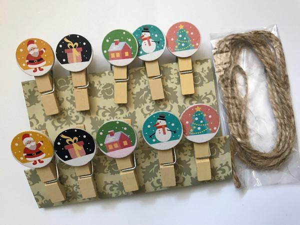 120pcs pinces à papier en papier de Noël, piquets en bois pour photos, pinces à linge pour épingles à linge, épingles à linge pour cadeau de fête décoratif Chirstmas
