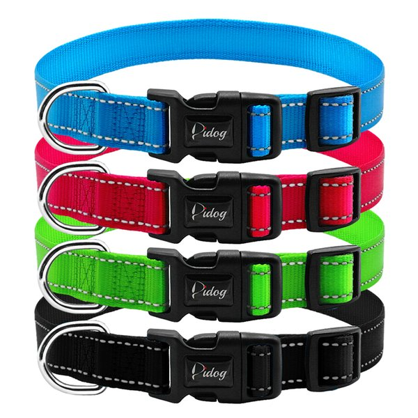 Reflective Nylon Dog Collar Adjustable Dogs Collars For Small Medium Pet With Plastic Buckle Metal D Ring 3 Size S M L