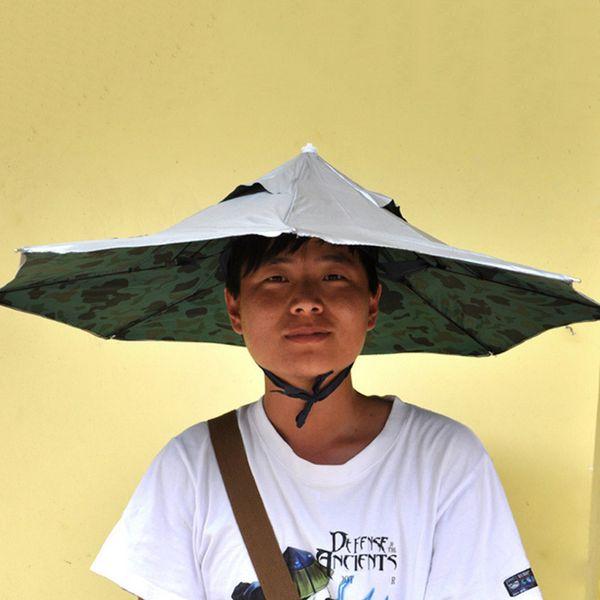 Nuovo arrivo 80 centimetri ombrello cappello portatile all'aperto pesca anti UV parasole pieghevole doppio ombrello pioggia donne uomini