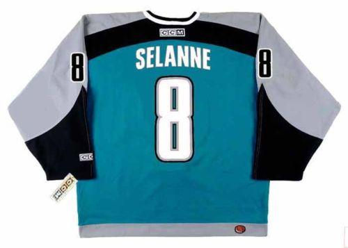 2018 Wholesale Cheap TEEMU SELANNE San Jose Sharks 2002nHome Hockey Jersey All Stitched Top-quality Any Name Any Number