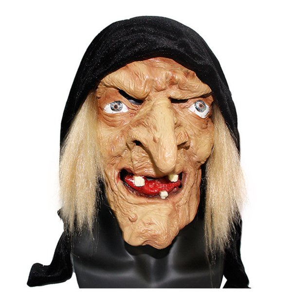 NEW Long Nose Horror Latex Witch Mask with Hair Halloween Festival Costume Party Tricky Cosplay Props Scary Carnival Masks