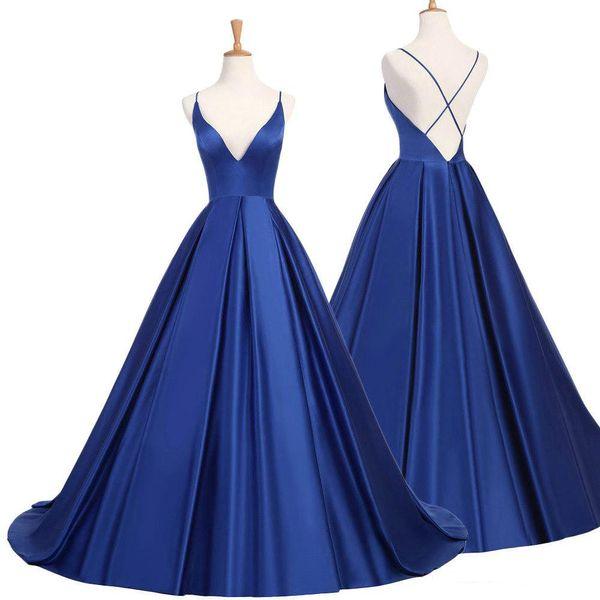 2019 Elegant Real Photos A-Line Royal Blue V-Neck Spaghetti Straps Evening Dresses Satin Prom Sweep Train Evening Gowns vestido de festa
