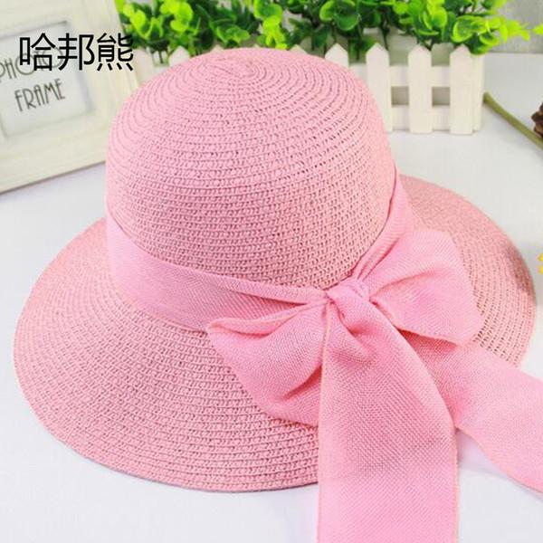Hats & Caps Sun Style summer large brim straw hat adult women girls fashion sun hat uv protect big bow summer beach