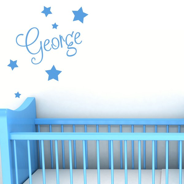 Funny Name With Stars Wall Art Boys Bedroom Vinyl Kids Sticker Art Painting Wall Stickers Vinyl Decor Decals