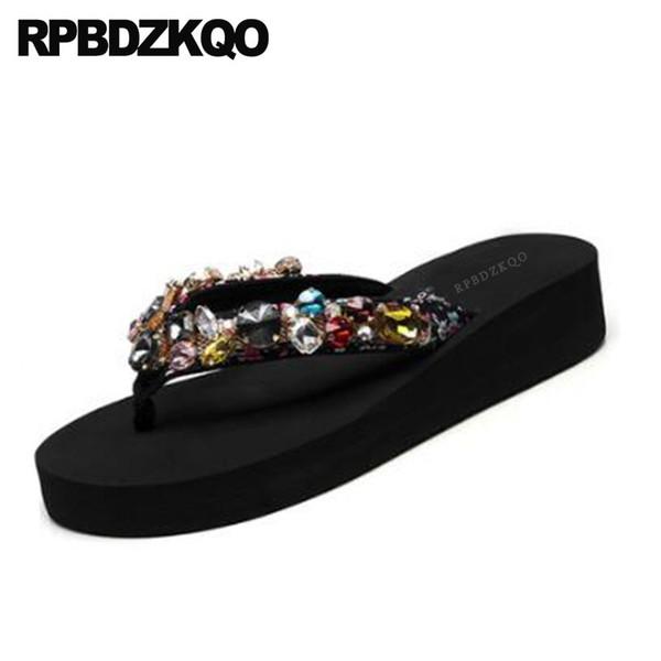 pantoufles en cristal de plage grande taille femmes bascule strass strass designer wedge plate-forme diapositives sandales de diamant chaussures larges fit dames