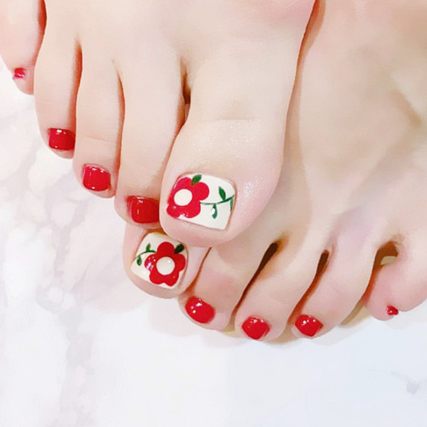 Elegant 24pcs/set Simple red flower pattern design finished toes false nails,full nail tips Patch lady art tool bride