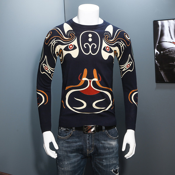 High Quality Mens Long Sleeve Sweater Autumn Navy Blue Men Sweaters Size S-4XL Chinese Style Male Pullover