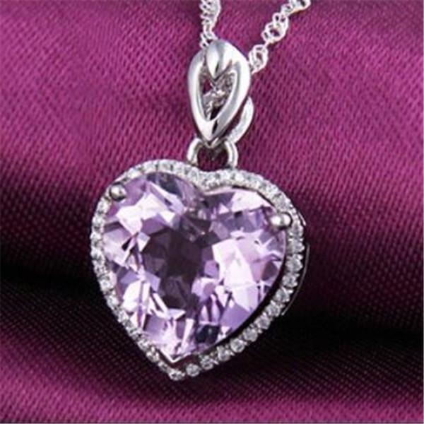 Reale S925 Sterling Silver Classic Ametista gemme a forma di cuore ciondolo collana fine gioielli sposa accessori da sposa No catena