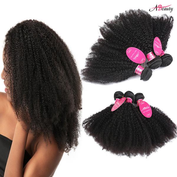 Malaysian Afro Kinky Curly Human Hair 3 Bundles Afro Curly Virgin Hair Bundles Nature Color Brazilian Peruvian Indian Hair Weave