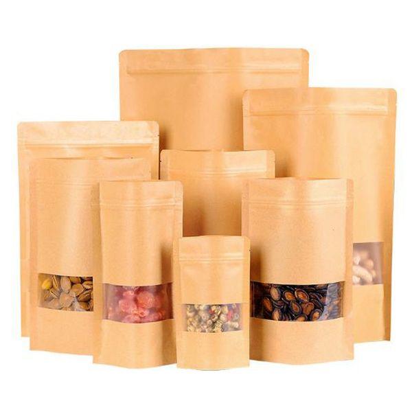 New Food Moisture-proof Bags Window Nuts Dried Fruit Sealing Bags Brown Kraft Paper Pouch Ziplock Snack Cookies Packaging Bags