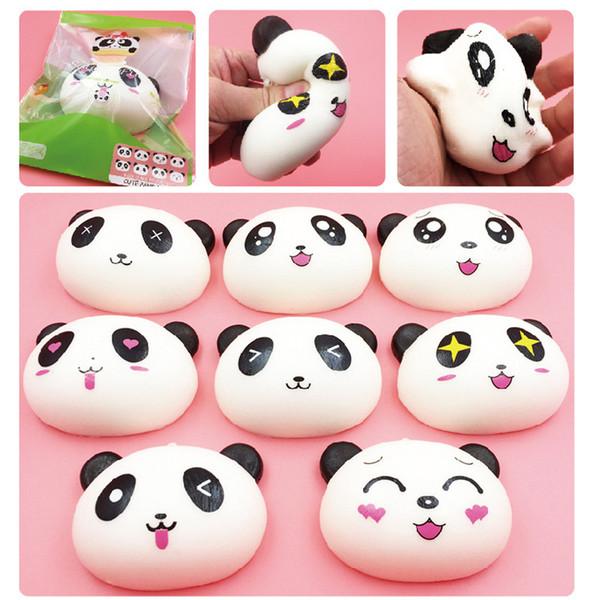 New Arrived 10cm Jumbo Panda Squishy Charms Kawaii Buns Bread Cell Phone Key/Bag Strap Pendant Squishes 3.5mm dust Plug