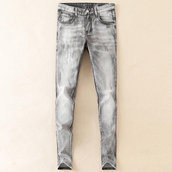 Jeans Homme Quatre saisons Micro Stretch Haute Qualité Jeans Ado Skinny Fashion Slim Gris Classique Jeans
