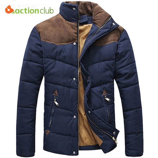 ACTIONCLUB Mens Winter Jacket Men Winter Splicing Cotton-Padded Coat Jacket High Quality Men