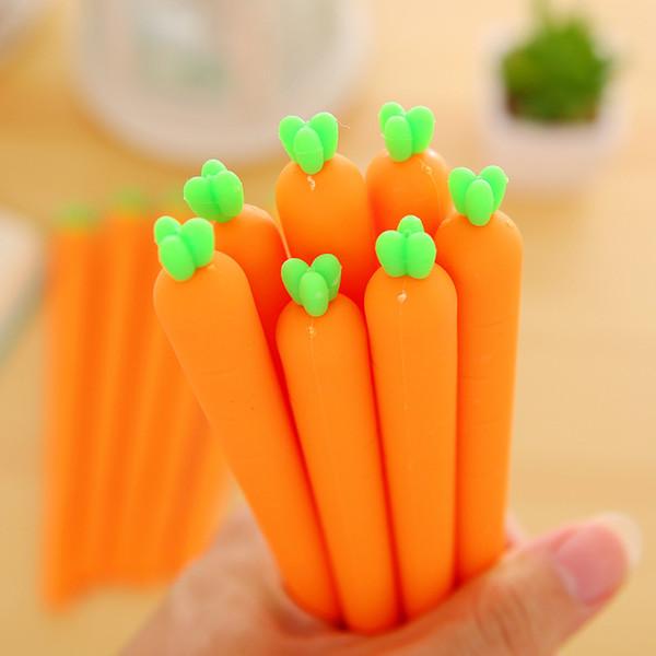 50 pcs / lot Cartoon Légumes Carotte Gel Pen Souple En Silicone Gel Stylo Enfants Cadeaux Fournitures de bureau