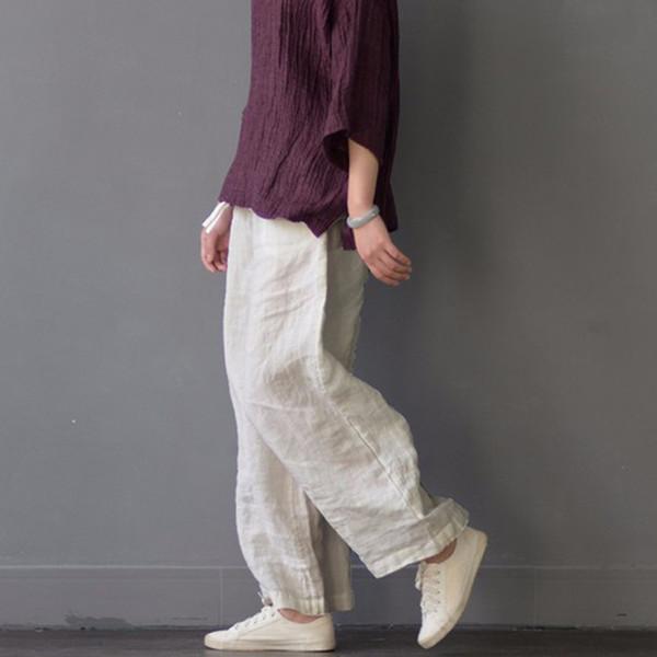 Pantalon Femme 2018 Женские Брюки Льняные Брюки Женские Брюки Эластичный Пояс Свободные Случайные Тренировочные Брюки Широкие Ноги S189