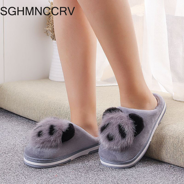 SGHMNCCRV new fashion Winter lady cute cartoon cotton slippers indoor home non-slip warm plush pregnant women month slippers